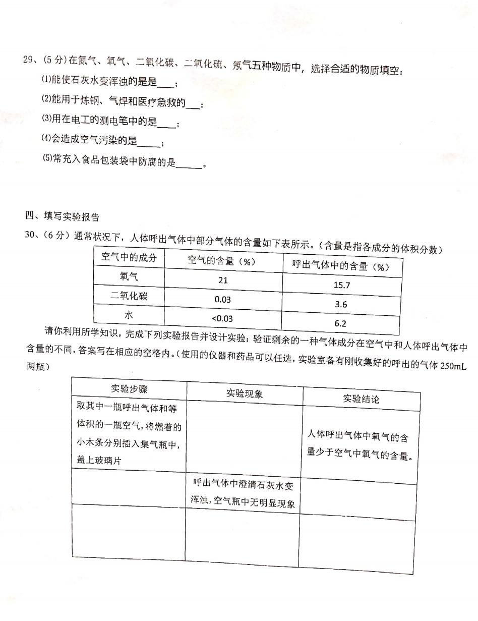 2020曲靖市罗平县初三一诊化学试题答案(PDF下载版)