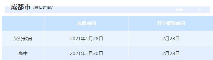 2011四川省中小学寒假放假时间安排