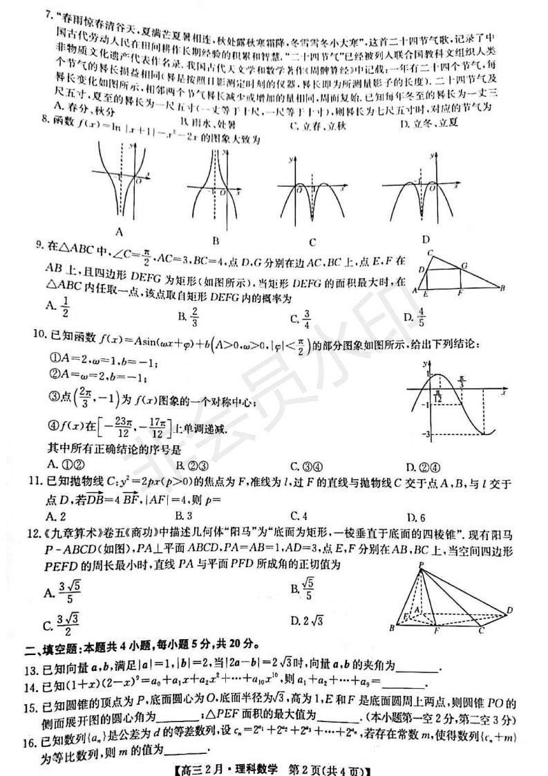 2021届河南省九师联盟高三下学期二月联考数学理试卷及答案图2