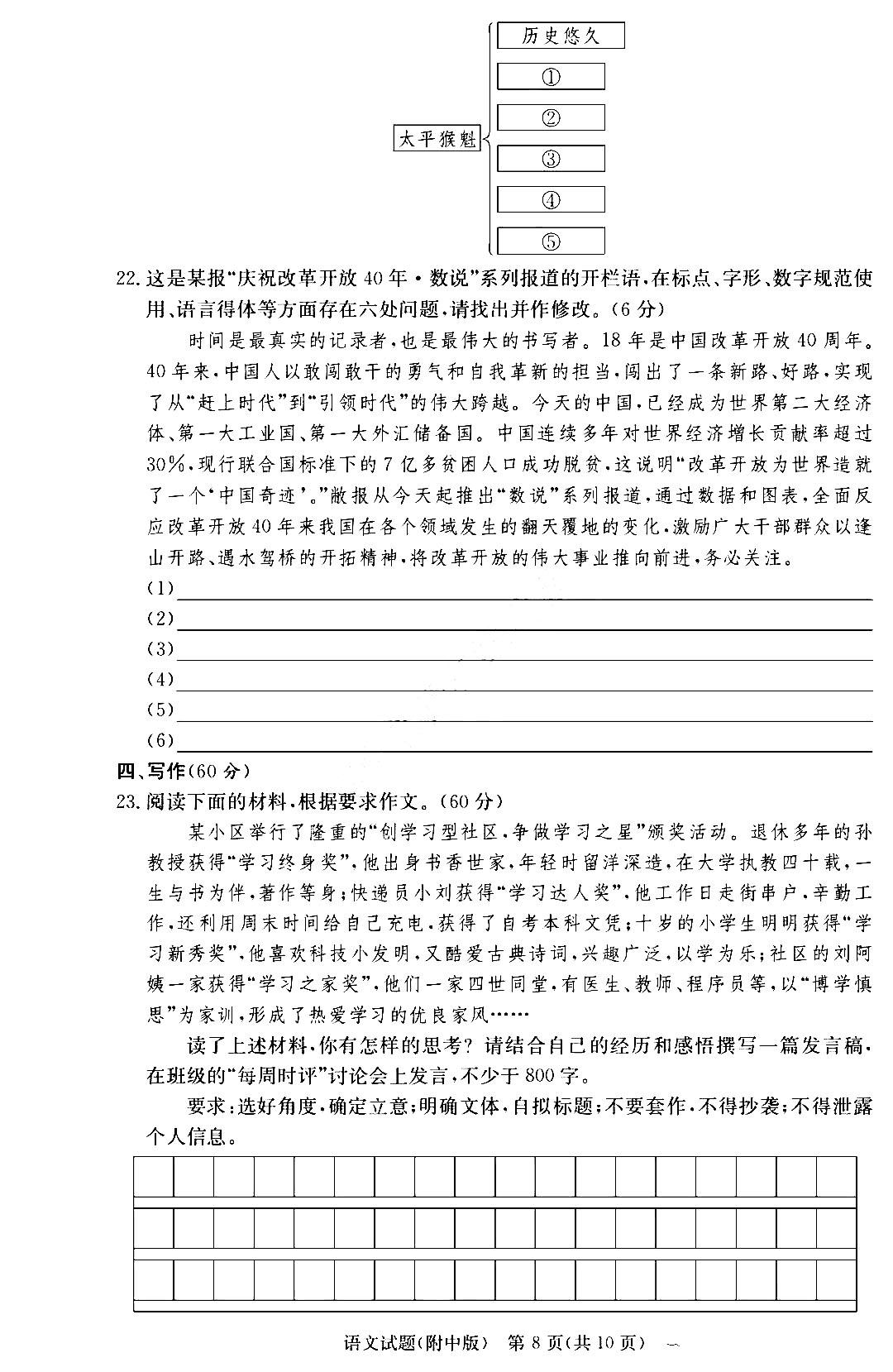 湖南师范大学附属中学2021届高三月考(六)语文作文题目
