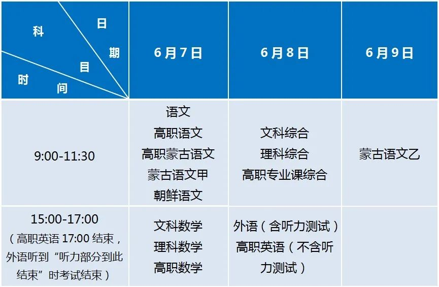 内蒙古:2021年普通高考时间安排公布